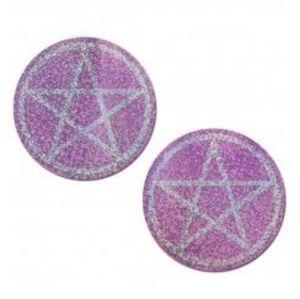 Pink Pentagram Glitter Nipple Pasties Stickers